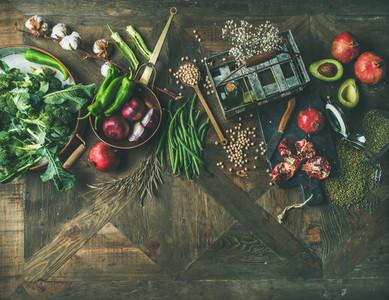 Flat lay of winter vegetarian or vegan food cooking ingredients