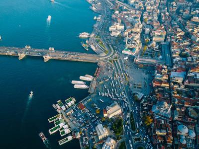 Galata Bridge aerial photography