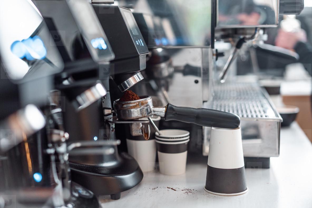 professional coffee machine in a bar
