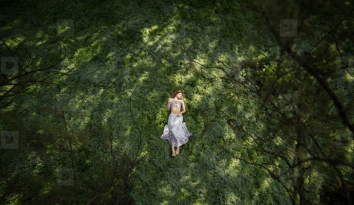 Girl in garden shooted from above