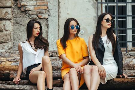 Three young beautiful girls