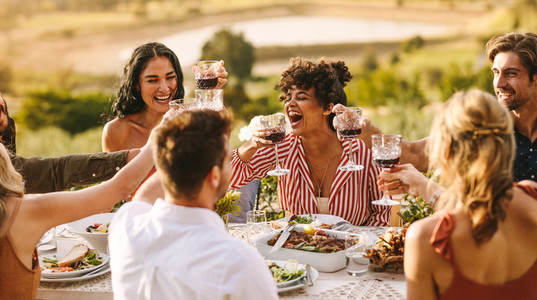 Group of cheerful friends having wine at party
