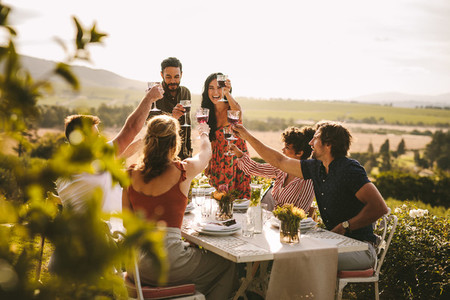 Group of people toasting wine during a dinner party