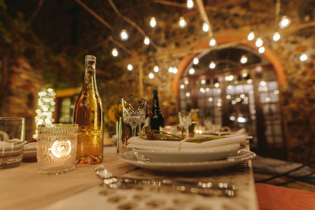 Beautiful table setting for a big party in the night
