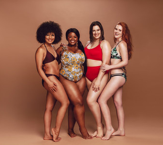 Group of multi ethnic female in swimwear