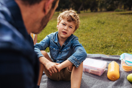 Son having conversation with his dad at picnic