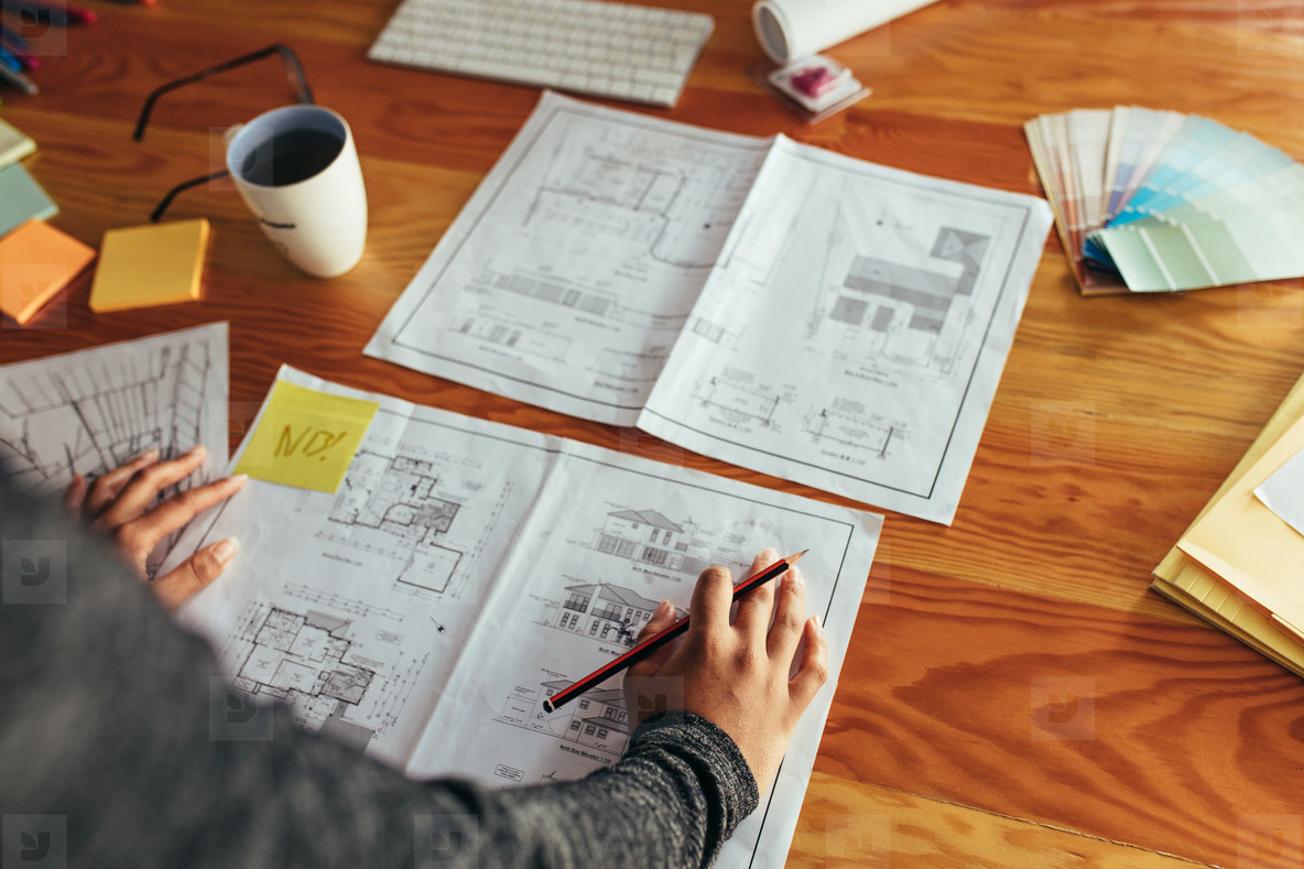 Architect working at her desk
