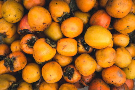 Orange kaki fruit aerial
