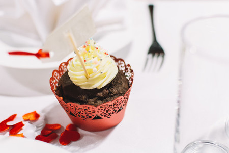 Sweet cupcake on a wedding party