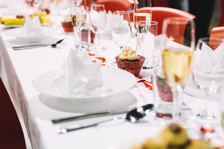 Table setting on a wedding party