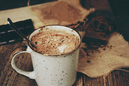 Hot chocolate in a table