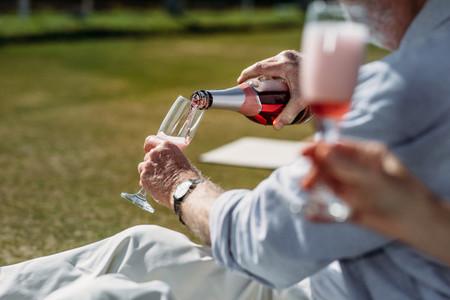 People having drinks outdoors