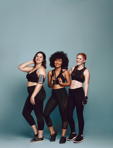 Group of diverse women in sportswear