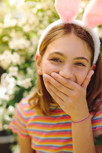 Close up of a girl laughing