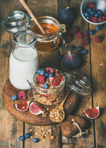 Healthy vegetarian breakfast with Oatmeal granola and almond milk