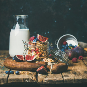 Healthy breakfast with Oatmeal granola and almond milk  square crop
