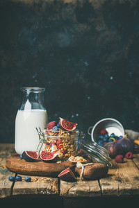 Healthy breakfast with Oatmeal granola and almond milk copy space