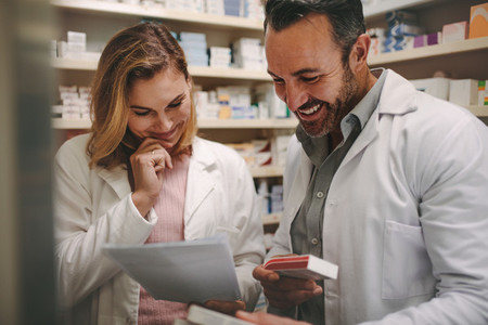 Pharmacists looking for the best medicine in stock