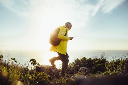 Senior man on an adventurous hiking trip