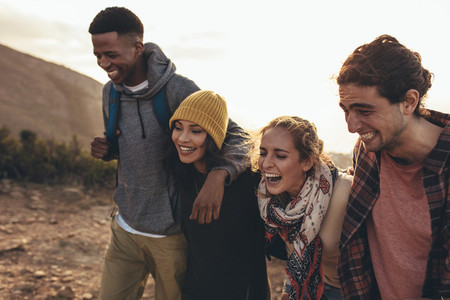 Social networking friends on hiking trip