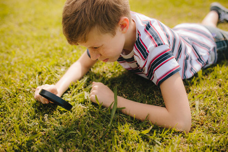 Boy exploring garden grass with his magnifier