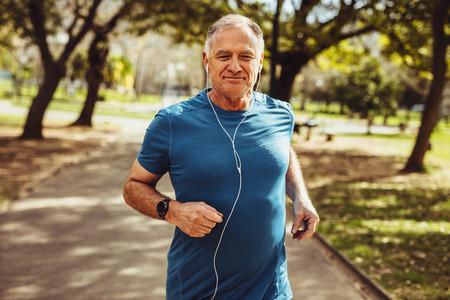 Senior man enjoying his workout in park