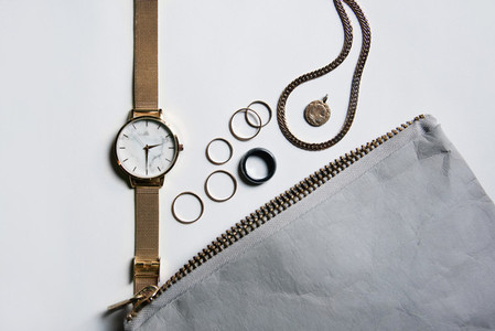 Watch and Jewelry Flat Lay