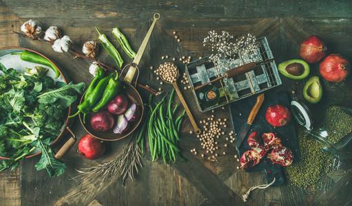 Winter vegetarian or vegan food cooking ingredients  top view