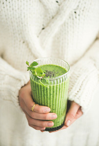 Matcha green vegan smoothie with chia seeds and mint