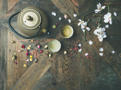 Flat lay of Traditional Asian tea ceremony arrangement  copy space