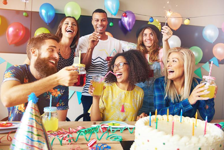 Happy exuberant group of friends celebrating