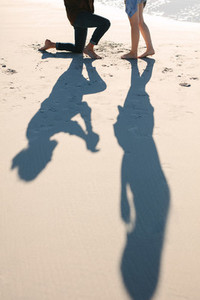 Shadow of couple proposing on beach