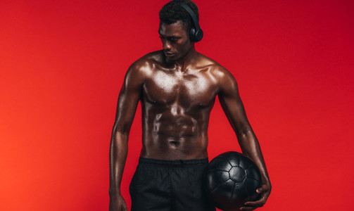 Bodybuilder with medicine ball