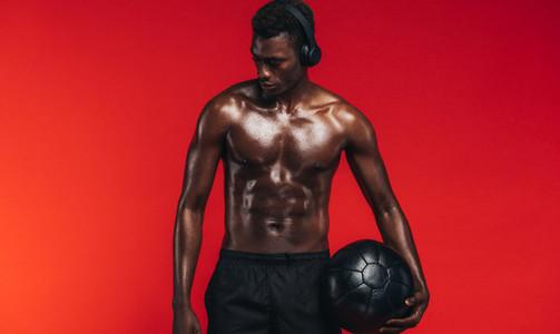 Bodybuilder with medicine ball