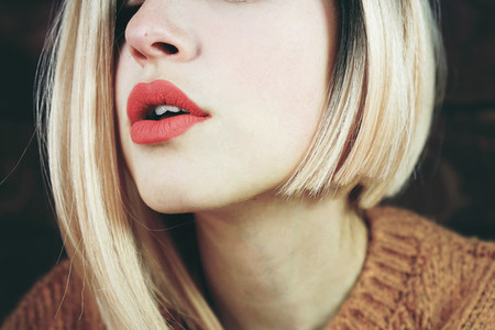 Close up of a sensual blonde woman