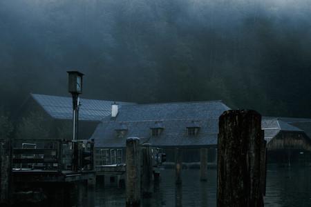 Wooden house in Konigsee lake near Schonau port Bavaria Germany