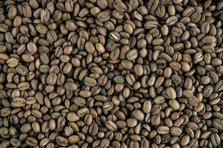 Roasted coffee beans aerial
