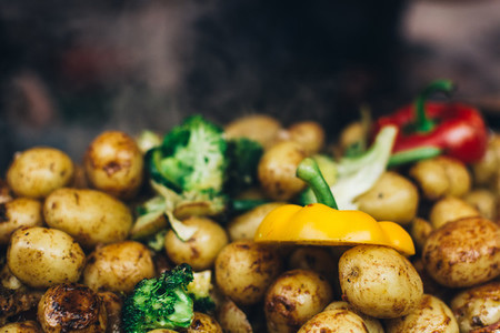 Roasted whole potatoes