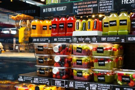 Showcase filled fresh juices