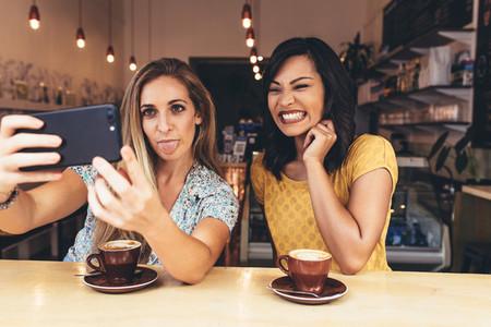 Crazy selfie at coffee shop