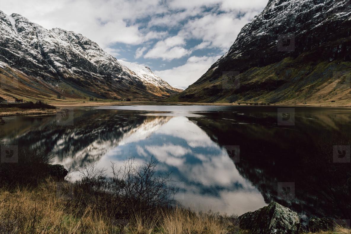 Loch Achtriochtan reflections winter snow mountain landscape in
