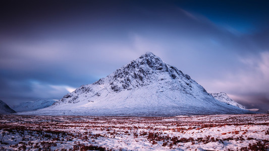 Mountain nature landscape winter snow ice in Glencoe Scotland