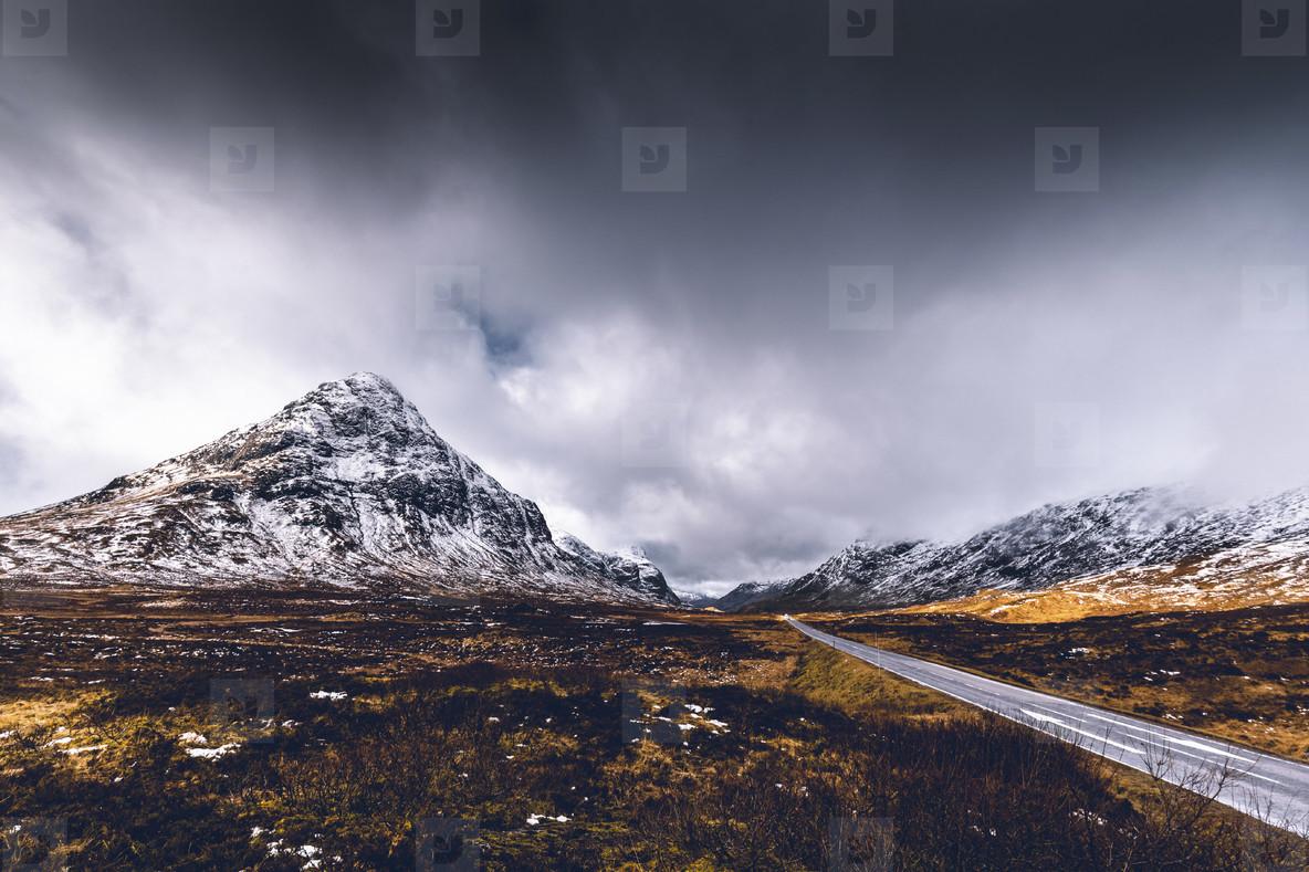 Mountain nature landscape winter snow ice in Glencoe Scotland