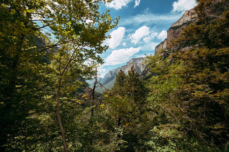 View of gallinero wall Ordesa National Park Aragon Pyrenees