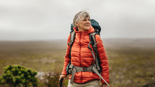 Senior woman on a hiking adventure