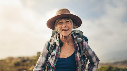 Close up of a senior female hiker