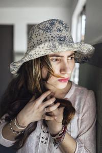 Sensual ethnic female with closed eyes
