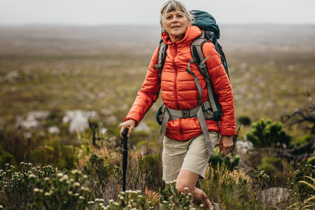 Portrait of a woman on a trekking campaign