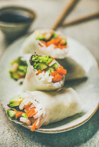 Shrimp and vegetable rice paper rolls on ceramic plate