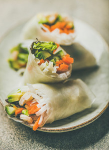 Shrimp and vegetable rice paper rolls on plate